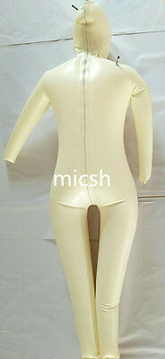 Latex Rubber Bodysuit White Mask Inflatable Tight Hood Size XS-XXL