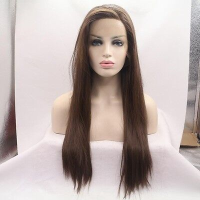 """24"""" Heat Resistant Lace Front Wig Synthetic Hair Straight Medium Brown #6"""