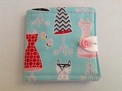 Needlecase. fabric Aqua/Pink dresses. Store needles safely. Gift. present