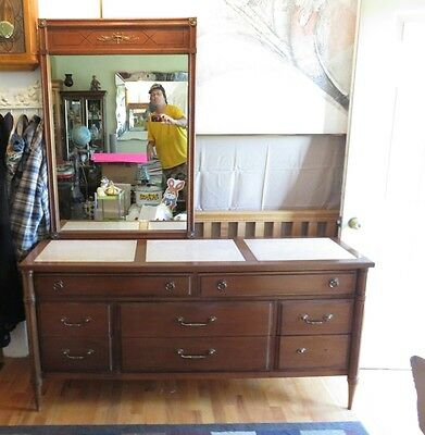 Vintage Marble Top Wood Dresser With Mirror