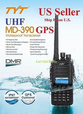 TYT MD 390 with GPS UHF DMR Digital Radio Free Software & USB cable US Seller