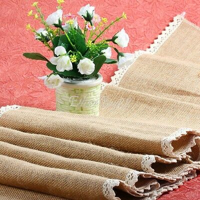 Burlap Floral Lace Pattern Hessian Table Runner Wedding Jute Rustic Party Decor