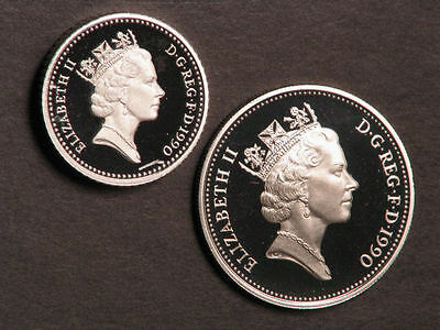 GREAT BRITAIN 1990 5 Pence Crowned Thistle Silver Choice Proof - 2 Types