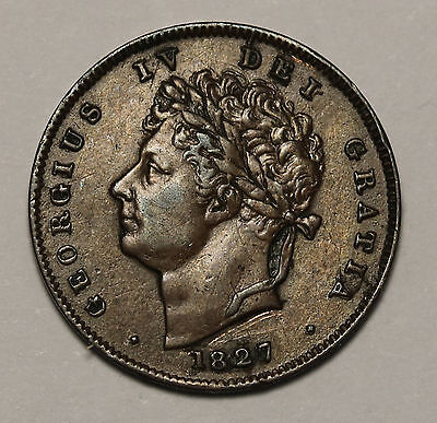 1827 UK Great Britain 1/3 Third ⅓ Farthing George IV Rare Coin