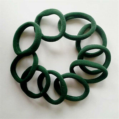 10pcs Girls Elastic Hair Ties Band Rope Ponytail Bracelets scrunchie Army green