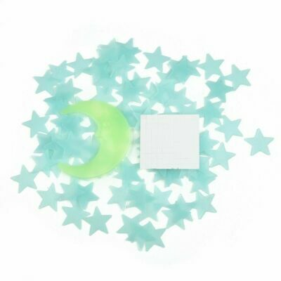 Blue 100 Pieces 3D Home Wall Ceiling Glow In The Dark Stars with Moon Stickers