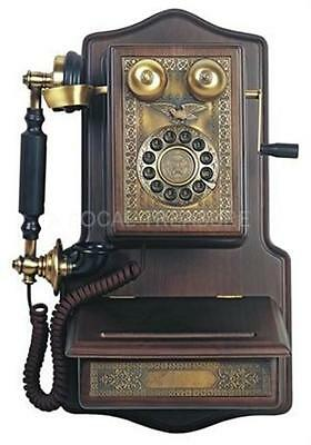 Wall Wood Phone Antique 1907 Replica Telephone Wooden Frame Push Dial Paramount