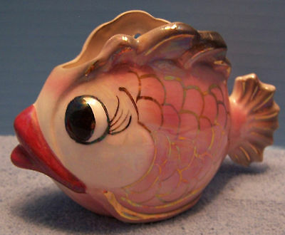 Cute Vintage Opalescent Pink/Gray/Gold Fish Wall Pocket Plaque