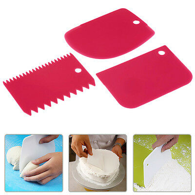 3Pcs Pastry Butter Dough Cake Cookie Scraper Decorating Cutter DIY Tools New