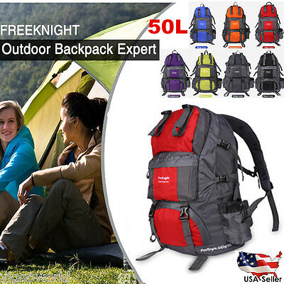 50L Outdoor Backpack Travel Camping Hiking Bag Waterproof Mountaineering Pack UK