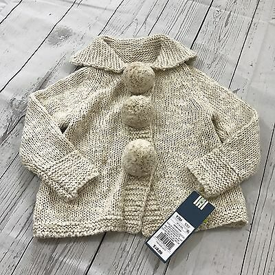Genuine Kids OshKosh Baby Girl Knit Sweater Cream Tan Button Up 12 Month NWT New