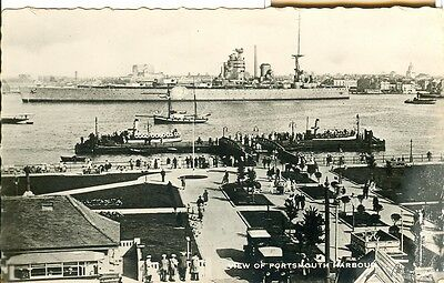 """HMS Nelson. """"Nelsonol"""" Titled """"View of Portsmouth Harbour"""". Postcard. M & L"""