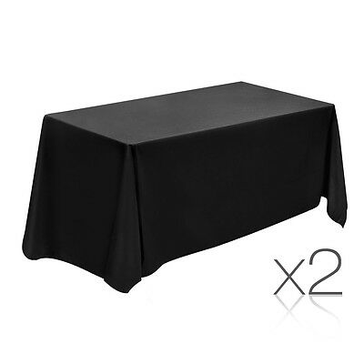 NEW 244cm Black 2x Wedding Home Party Polyester Table Cloth Tablecloth Rectangle