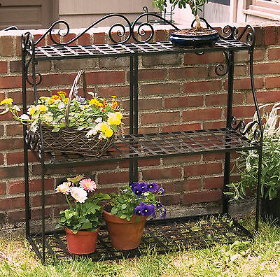 3 Tier Plant Stand Black Metal Frame Garden Decorative Planter Flower Shelf Rack