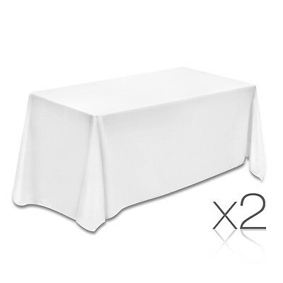 NEW 244cm White 2x Wedding Home Party Polyester Table Cloth Tablecloth Rectangle