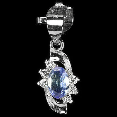 Dazzling Natural Aaa Blue Tanzanite Oval & White Cz Sterling 925 Silver Pendant