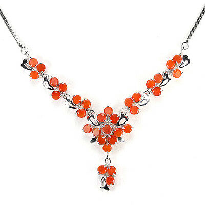 Natural Aaa Orange Fire Opal Round Sterling 925 Silver Necklace 17.75 Inch.