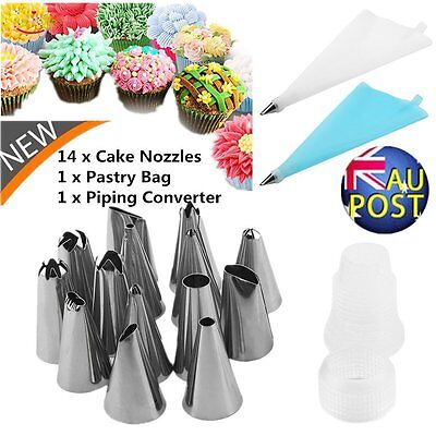 14x Nozzle + Silicone Icing Piping Cream Pastry Bag Set Cake Decorating Tool Hot