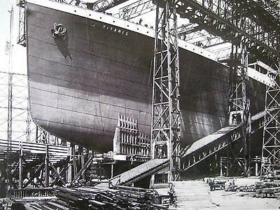 Titanic Postcard- The Titanic On The Ways Before Launching 1911