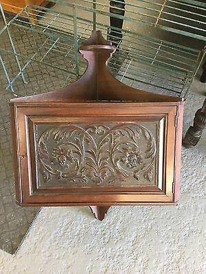 Antique Mahogany Carved Wall Hanging Corner Cupboard