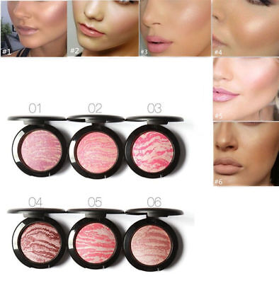Face Blush Women Makeup Cosmetic Baked Cheek Color Bright Blusher Highlighter AF