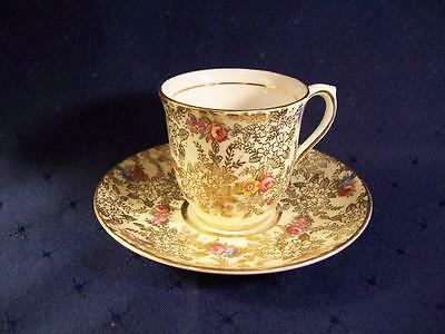 Colclough Demitasse Cup & Saucer  Gold With Pink Flowers