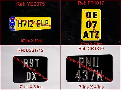 Motorcycle Number Plate Black & Silver/Chrome or Yellow & Black (Flat &Pressed)