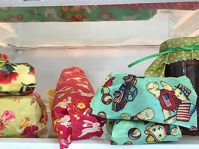Organic  100% Cotton and Beeswax Food Covers/Reusable and Biodegradable