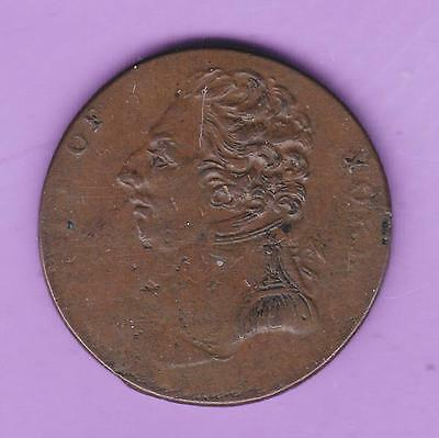 1790s  HALFPENNY CONDER TOKEN: DUKE OF YORK/WOMAN LEANING ON PILLAR DH984 J42