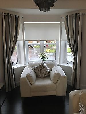 Stripped Eyelet Curtains Black White And Taupe