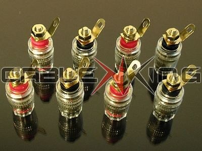 8 x Pure Copper Heavy Gauge Insulated Binding Posts / 4mm Speaker Terminals.