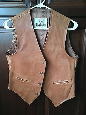 Vintage H&H Leather Tan Four Button Vest FREE SHIP!!!