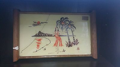 Deco Oil Paint on Glass Cocktail Serving Tray - Hawaiian/Hula Girl