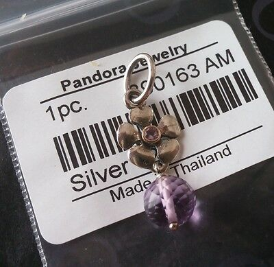 Pandora Silver and 14K Gold Pendant with Amethyst. #390163AM. New.