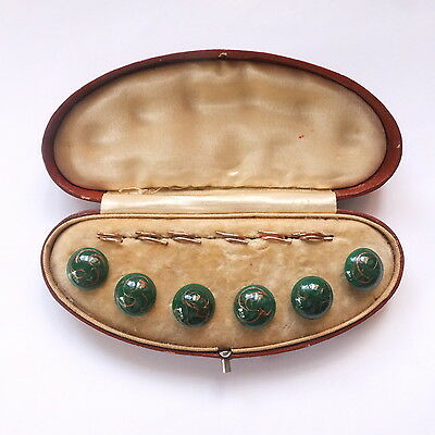 Lovely Antique Boxed Set of Green Glass Adventurine Swirl Buttons with Hooks