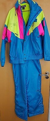 Nevica Recco Technology 90s Ski Suit Salopettes Trousers Jacket 44 XL Skiing 80s