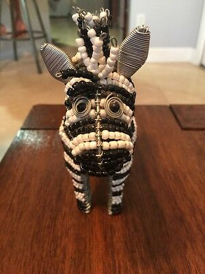 Zebra figurine with Glass Beading & Wire, African Fair Trade, Handmade