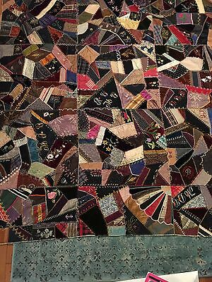 Antique Silk And Other Material Crazy Quilt 1890-1902 From Eastern Kentucky.