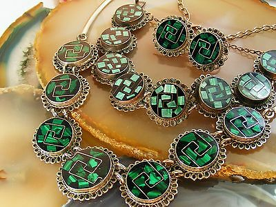 VTG Taxco Mexico Sterling Silver Malachite Inlay NECKLACE BRACELET EARRING Set