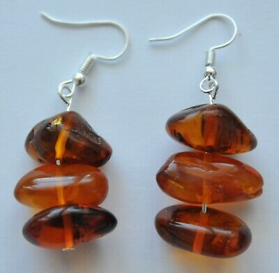 100% NATURAL BALTIC SEE AMBER / RUSSIAN SOVIET GOLD EARRINGS 6,0 gram. 老琥珀 STONE