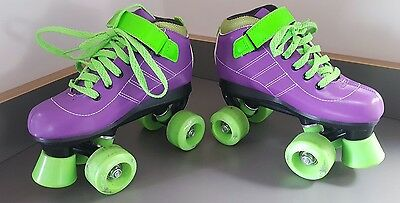 SFR Vision GT Roller Quads Boots Skates Size UK 1 Derby Disco Retro Purple Green