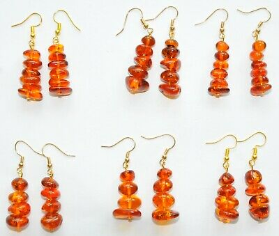 12pcs BALTIC AMBER RUSSIAN EARRINGS GOLD 老琥珀 JEWELRY 100% NATURAL BEADS GEMSTONE