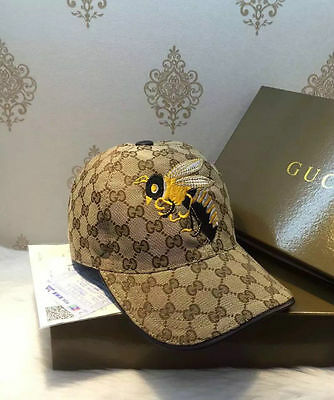 NWT:Gucci Men's/women brown hats Baseball cap bee embroidery size Adjustable