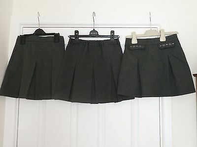 Girls Grey School Skirts x 3 Age 4-5 Years Marks & Spencer