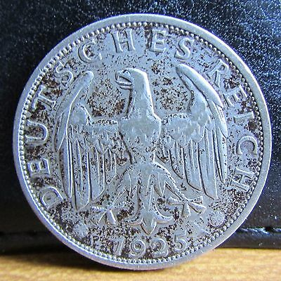 1925 Mint Mark A Silver Germany 2 Reichsmark Coin