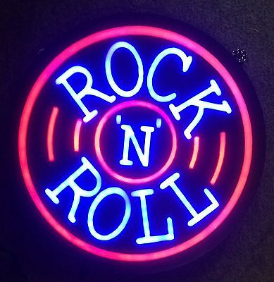 "New Rock N Roll Beer Pub Bar Store Restaurant Real Glass Neon Sign 17""x14"" PU67S"