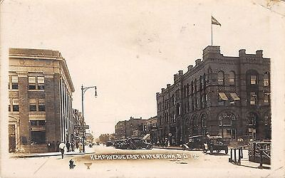 Watertown South Dakota~Kemp Avenue~Bank~Mather Law Offices~Cars~1917 RPPC