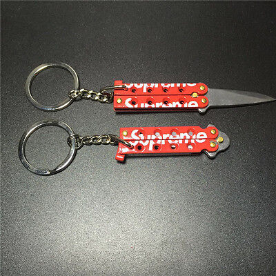 Supreme Mini Butterfly Knife Keychain Red Box Logo CDG SS15 100%Authentic!