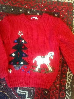 Child's Hand Knit Christmas Sweater Red Sz L Free Shipping