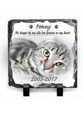Pet Cat Photo Memorial Slate Personalised Plaque Beautiful Poem Your Pet Picture